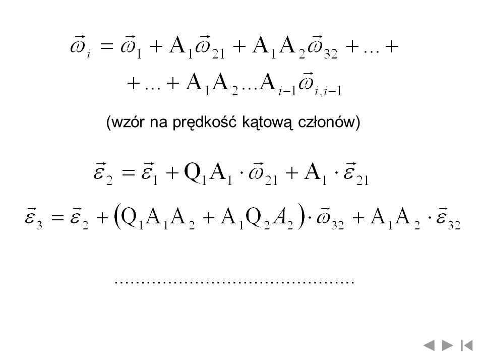 (wzór na prędkość kątową członów) ………………………………………
