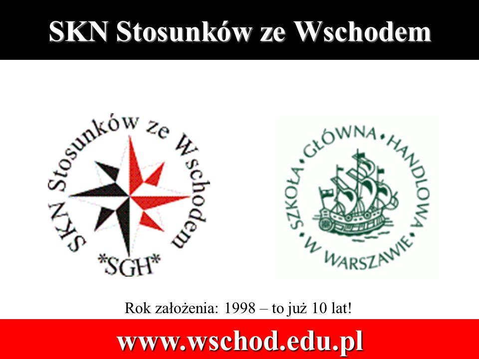 SKN Stosunków ze Wschodem www.wschod.edu.pl Rok założenia: 1998 – to już 10 lat!