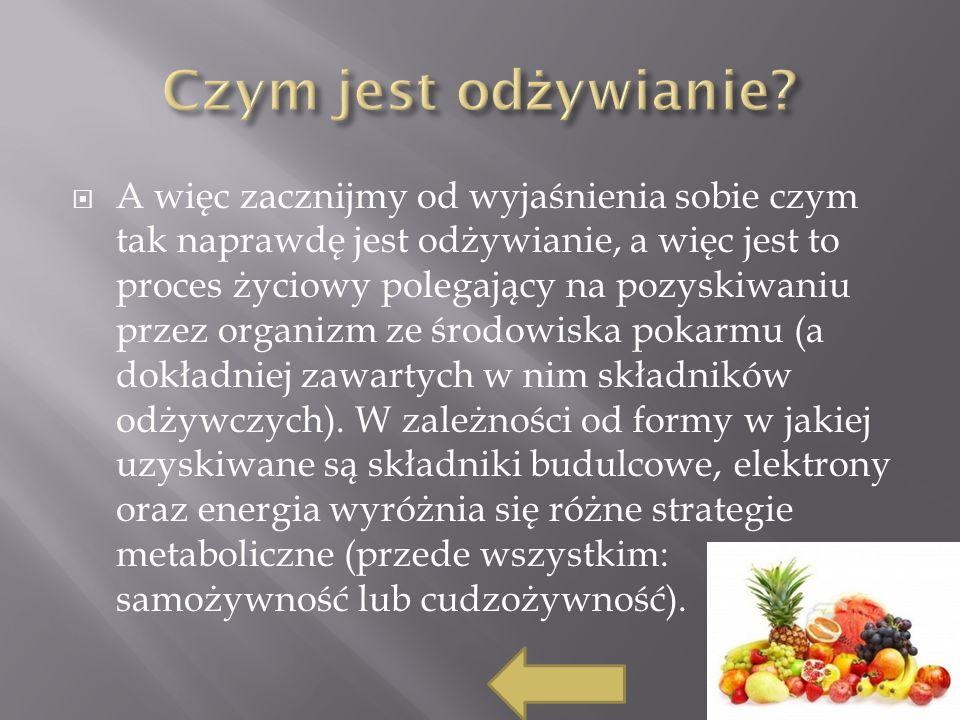 A więc zacznijmy od wyjaśnienia sobie czym tak naprawdę jest odżywianie, a więc jest to proces życiowy polegający na pozyskiwaniu przez organizm ze środowiska pokarmu (a dokładniej zawartych w nim składników odżywczych).