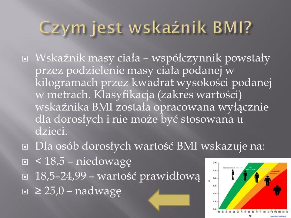 Wskaźnik masy ciała – współczynnik powstały przez podzielenie masy ciała podanej w kilogramach przez kwadrat wysokości podanej w metrach.