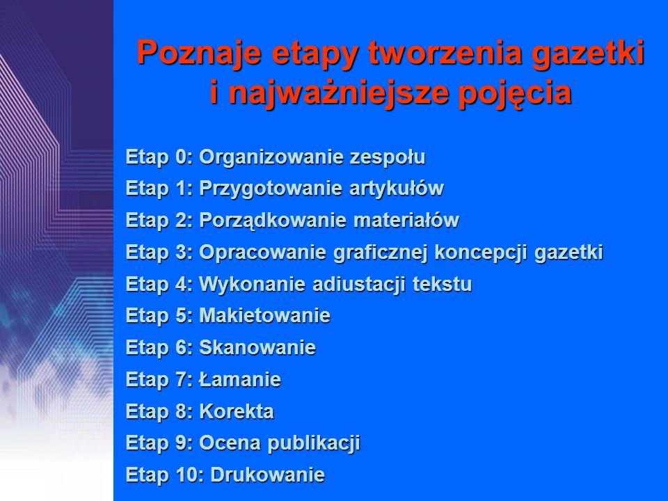 Poznaje etapy tworzenia gazetki i najważniejsze pojęcia Etap 0: Organizowanie zespołu Etap 1: Przygotowanie artykułów Etap 2: Porządkowanie materiałów