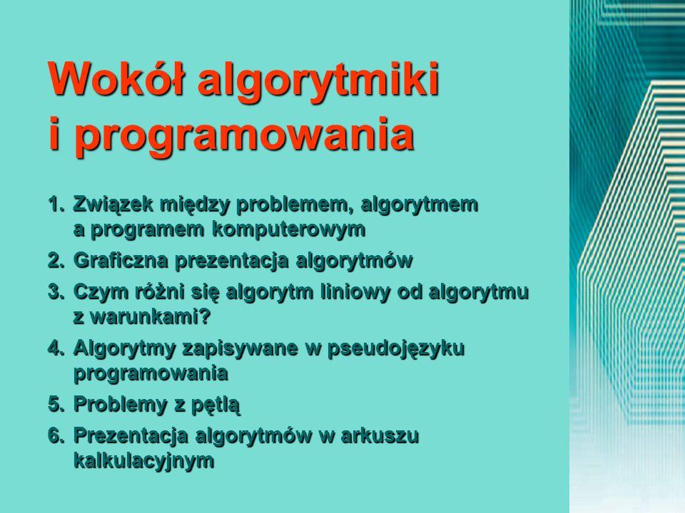 1.Związek między problemem, algorytmem a programem komputerowym 2.Graficzna prezentacja algorytmów 3.Czym różni się algorytm liniowy od algorytmu z wa