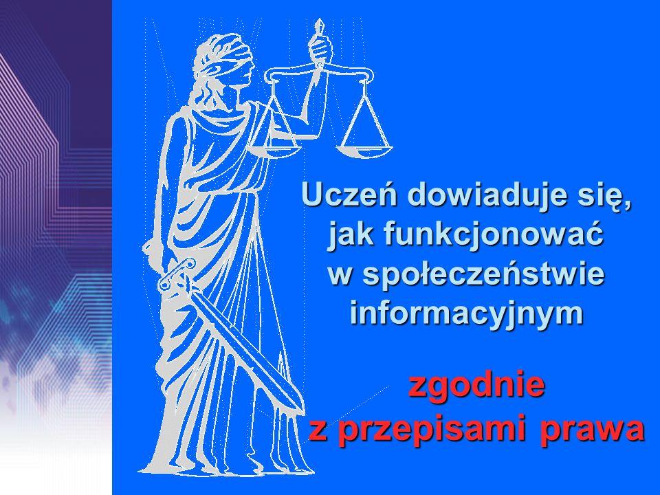 Uczeń dowiaduje się, jak funkcjonować w społeczeństwie informacyjnym zgodnie z przepisami prawa