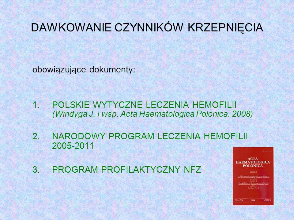 DAWKOWANIE CZYNNIKÓW KRZEPNIĘCIA obowiązujące dokumenty: 1.POLSKIE WYTYCZNE LECZENIA HEMOFILII (Windyga J.
