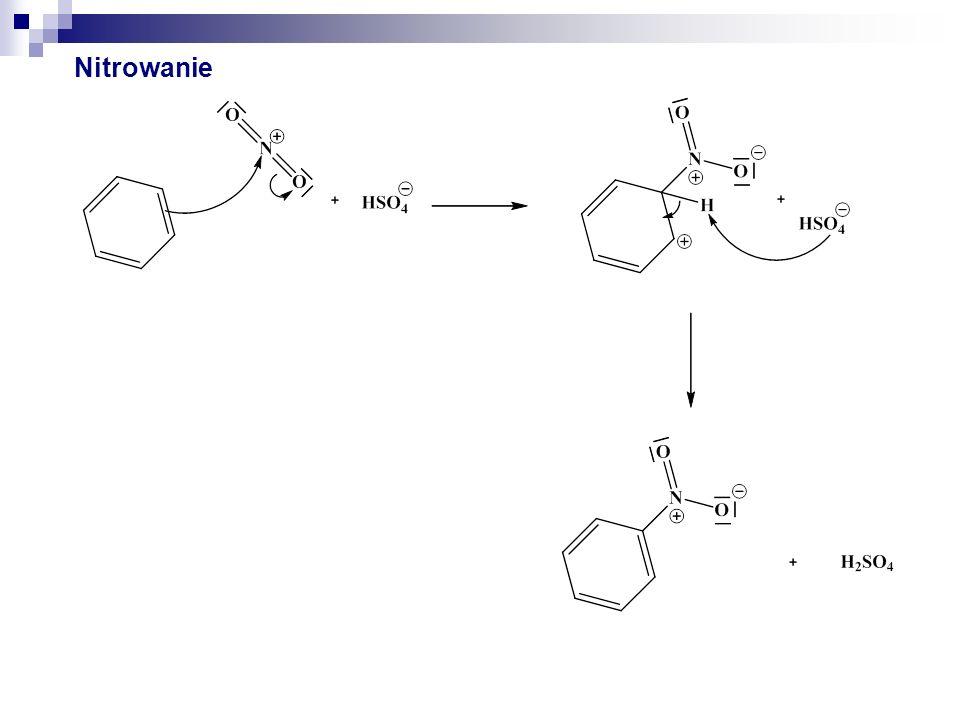 Inne czynniki nitrujące Kwas azotowy HNO 3 Roztwory tetrafluoroboranu nitroniowego Roztwory nadchloranu nitroniowego Roztwór kwasu azotowego HOKO* i bezwodnika octowego w lodowatym kwasie octowym Roztwór azotanu amonu i bezwodnika trifluorooctowego w kwasie trifluorooctowym * z niem.