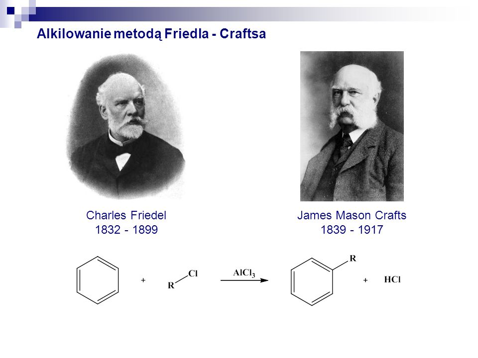 Alkilowanie metodą Friedla - Craftsa James Mason Crafts 1839 - 1917 Charles Friedel 1832 - 1899