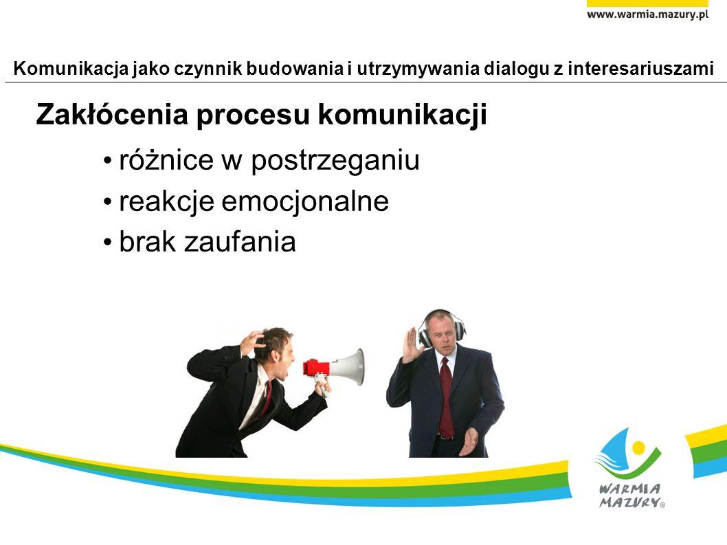 Komunikacja jako czynnik budowania i utrzymywania dialogu z interesariuszami Zakłócenia procesu komunikacji różnice w postrzeganiu reakcje emocjonalne brak zaufania