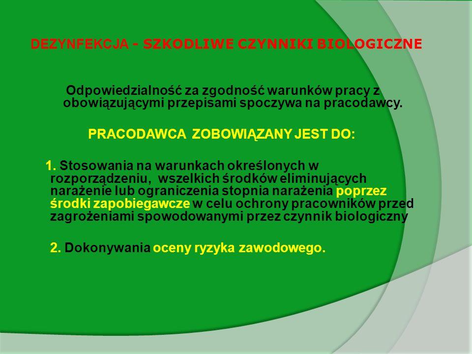 DEZYNFEKCJA - SZKODLIWE CZYNNIKI BIOLOGICZNE Przed wyborem środka zapobiegawczego pracodawca musi dokonać oceny ryzyka zawodowego, na jakie jest lub może być narażony pracownik i musi w szczególności uwzględnić: a) klasyfikację i wykaz szkodliwych czynników biologicznych na stanowisku pracy.