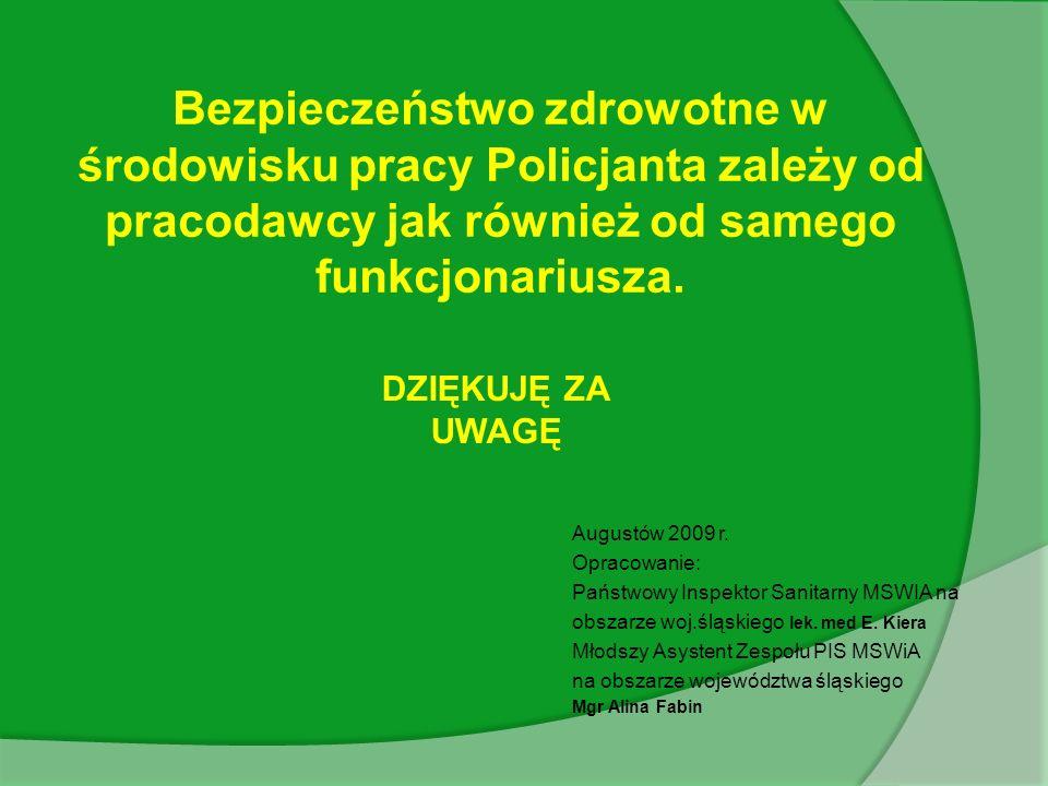 DZIĘKUJĘ ZA UWAGĘ Bezpieczeństwo zdrowotne w środowisku pracy Policjanta zależy od pracodawcy jak również od samego funkcjonariusza.