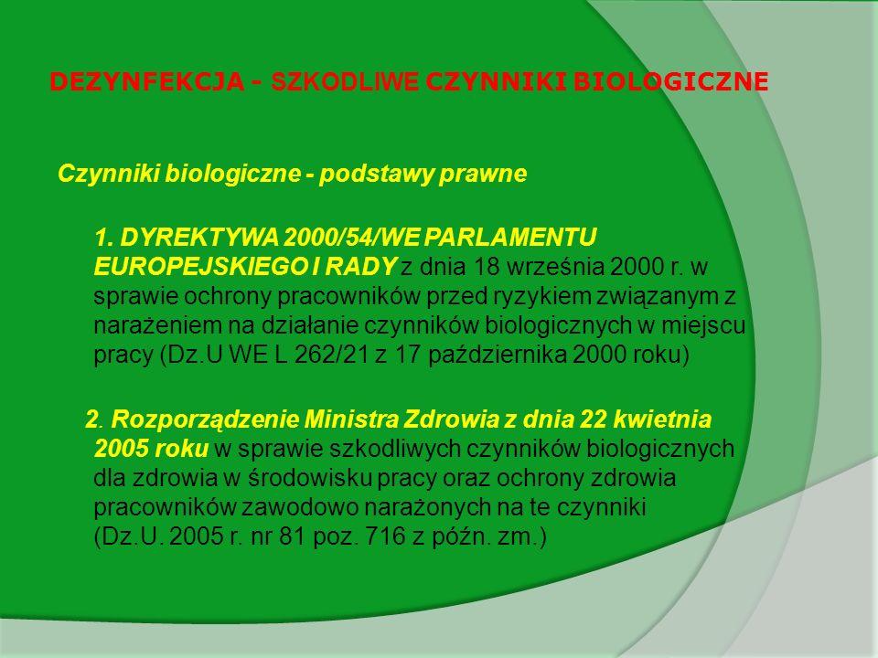 DEZYNFEKCJA - SZKODLIWE CZYNNIKI BIOLOGICZNE Zasady higieny i ochrony indywidualnej pracowników w związku z narażeniem na czynniki biologiczne w miejscu pracy określone zostały w dyrektywie 2000/54/EC Z zaleceń dyrektywy wynika, że: przy narażeniu na czynniki biologiczne z 1 grupy ryzyka - nie jest konieczne stosowanie środków ochrony indywidualnej, a sugeruje się tam stosowanie jedynie odzieży roboczej, przy narażeniu na czynniki biologiczne z 2 grupy ryzyka - jest konieczne stosowanie odpowiedniej odzieży roboczej, przy narażeniu na czynniki biologiczne z 3 grupy ryzyka – odpowiedniej odzieży ochronnej.