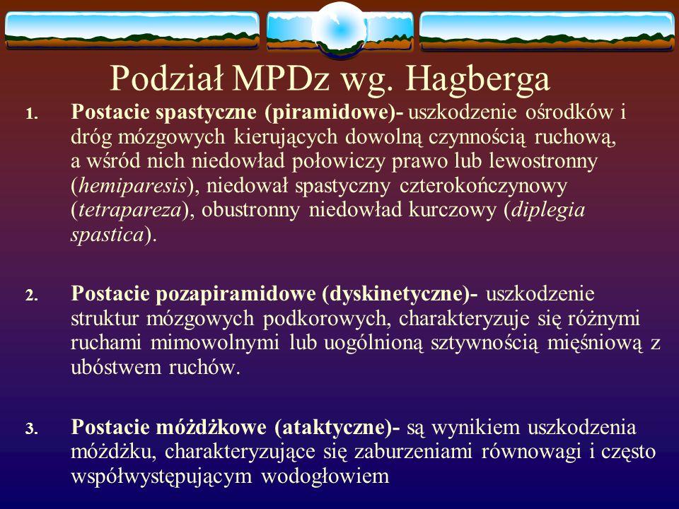 Podział MPDz wg. Hagberga 1. Postacie spastyczne (piramidowe)- uszkodzenie ośrodków i dróg mózgowych kierujących dowolną czynnością ruchową, a wśród n