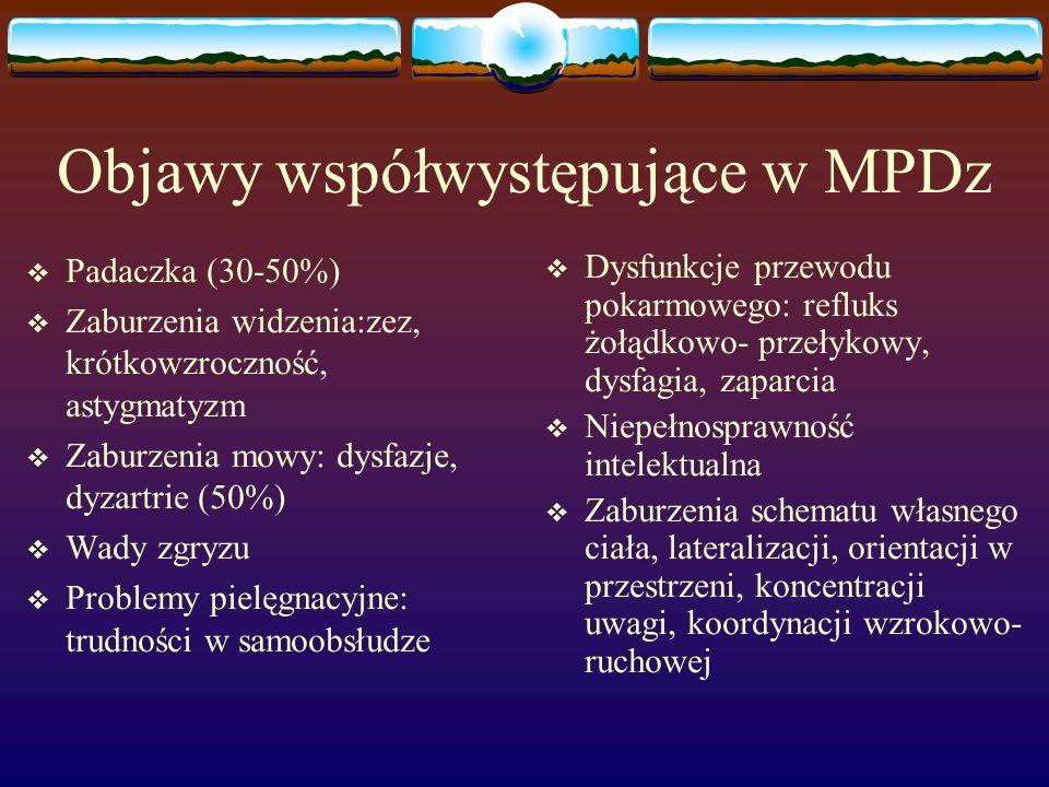 Objawy współwystępujące w MPDz Padaczka (30-50%) Zaburzenia widzenia:zez, krótkowzroczność, astygmatyzm Zaburzenia mowy: dysfazje, dyzartrie (50%) Wad