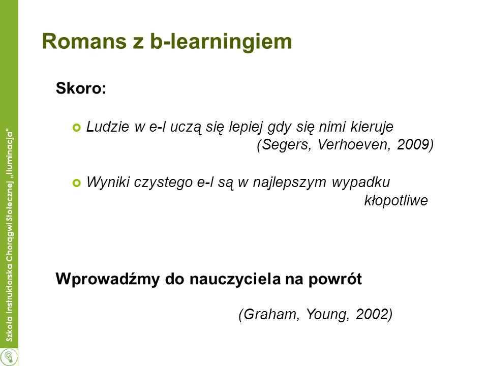 Szkoła Instruktorska Chorągwi Stołecznej Iluminacja Romans z b-learningiem Skoro: Ludzie w e-l uczą się lepiej gdy się nimi kieruje (Segers, Verhoeven