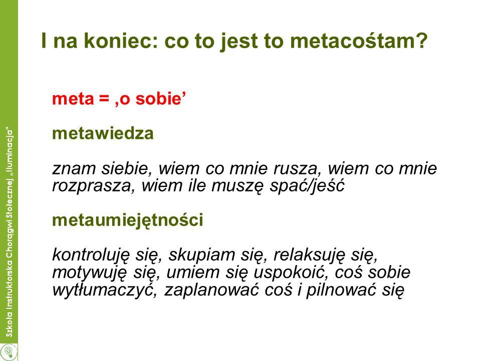 Szkoła Instruktorska Chorągwi Stołecznej Iluminacja I na koniec: co to jest to metacośtam? meta = o sobie metawiedza znam siebie, wiem co mnie rusza,