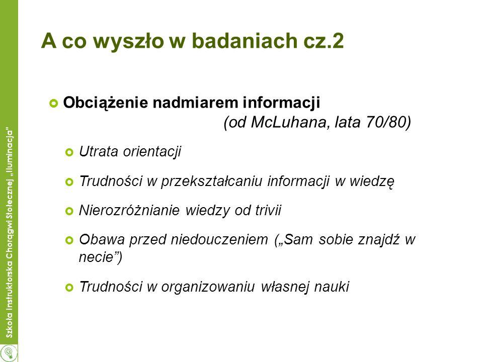 Szkoła Instruktorska Chorągwi Stołecznej Iluminacja A co wyszło w badaniach cz.2 Obciążenie nadmiarem informacji (od McLuhana, lata 70/80) Utrata orie