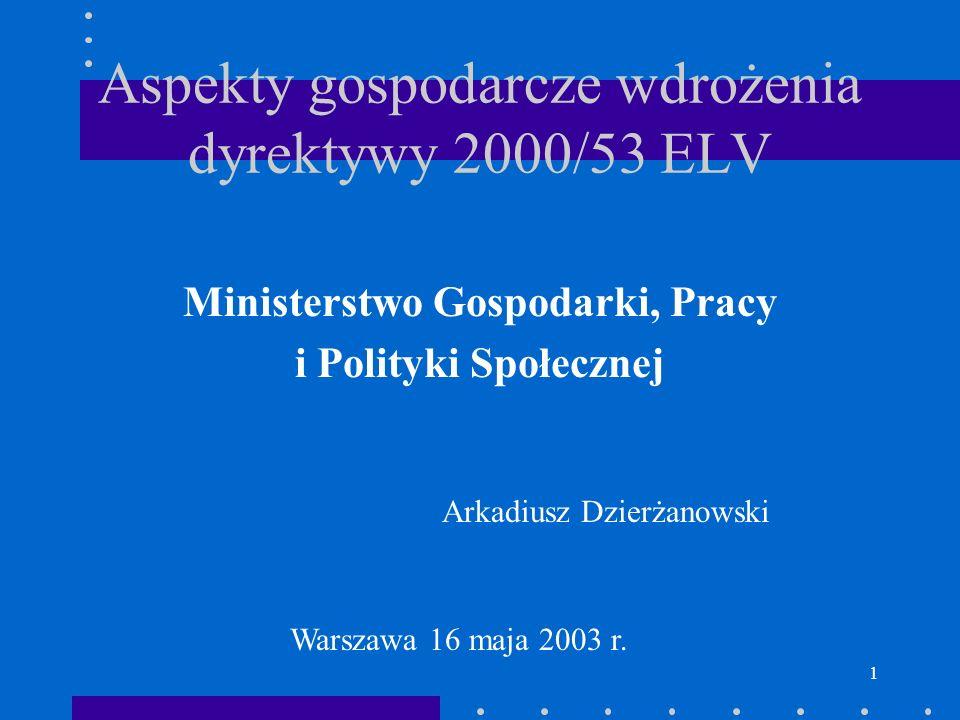 1 Aspekty gospodarcze wdrożenia dyrektywy 2000/53 ELV Ministerstwo Gospodarki, Pracy i Polityki Społecznej Arkadiusz Dzierżanowski Warszawa 16 maja 20