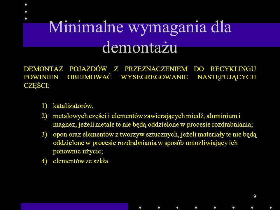 9 Minimalne wymagania dla demontażu DEMONTAŻ POJAZDÓW Z PRZEZNACZENIEM DO RECYKLINGU POWINIEN OBEJMOWAĆ WYSEGREGOWANIE NASTĘPUJĄCYCH CZĘŚCI: 1)kataliz