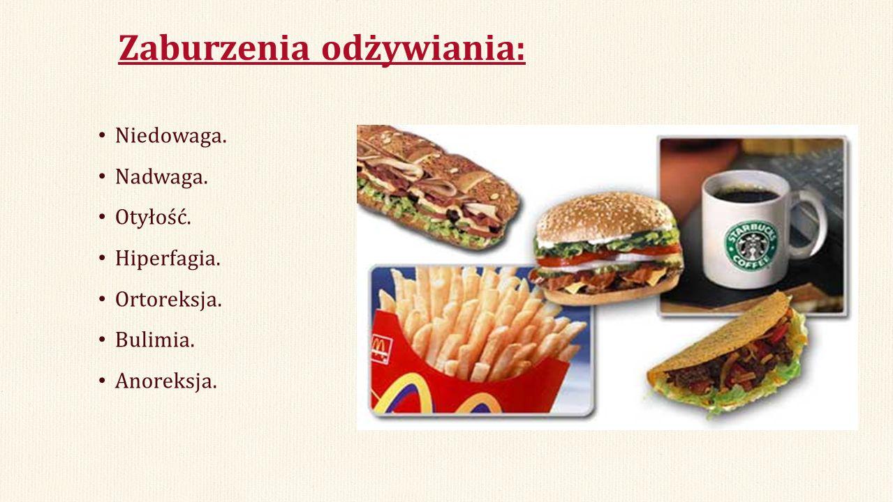 Zaburzenia odżywiania: Niedowaga. Nadwaga. Otyłość. Hiperfagia. Ortoreksja. Bulimia. Anoreksja.