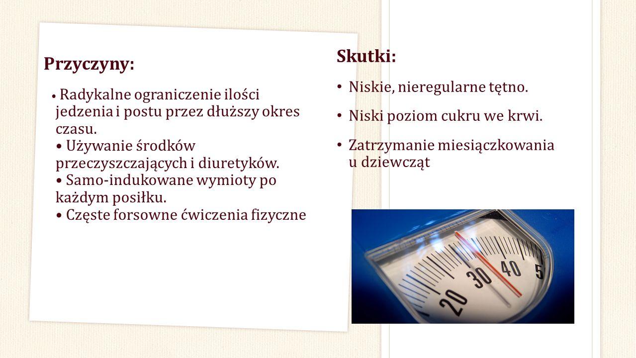 Przyczyny: Radykalne ograniczenie ilości jedzenia i postu przez dłuższy okres czasu. Używanie środków przeczyszczających i diuretyków. Samo-indukowane