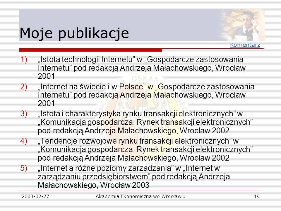 2003-02-27Akademia Ekonomiczna we Wrocławiu19 Moje publikacje 1)Istota technologii Internetu w Gospodarcze zastosowania Internetu pod redakcją Andrzej