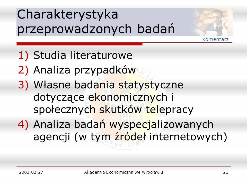2003-02-27Akademia Ekonomiczna we Wrocławiu21 Charakterystyka przeprowadzonych badań 1)Studia literaturowe 2)Analiza przypadków 3)Własne badania staty