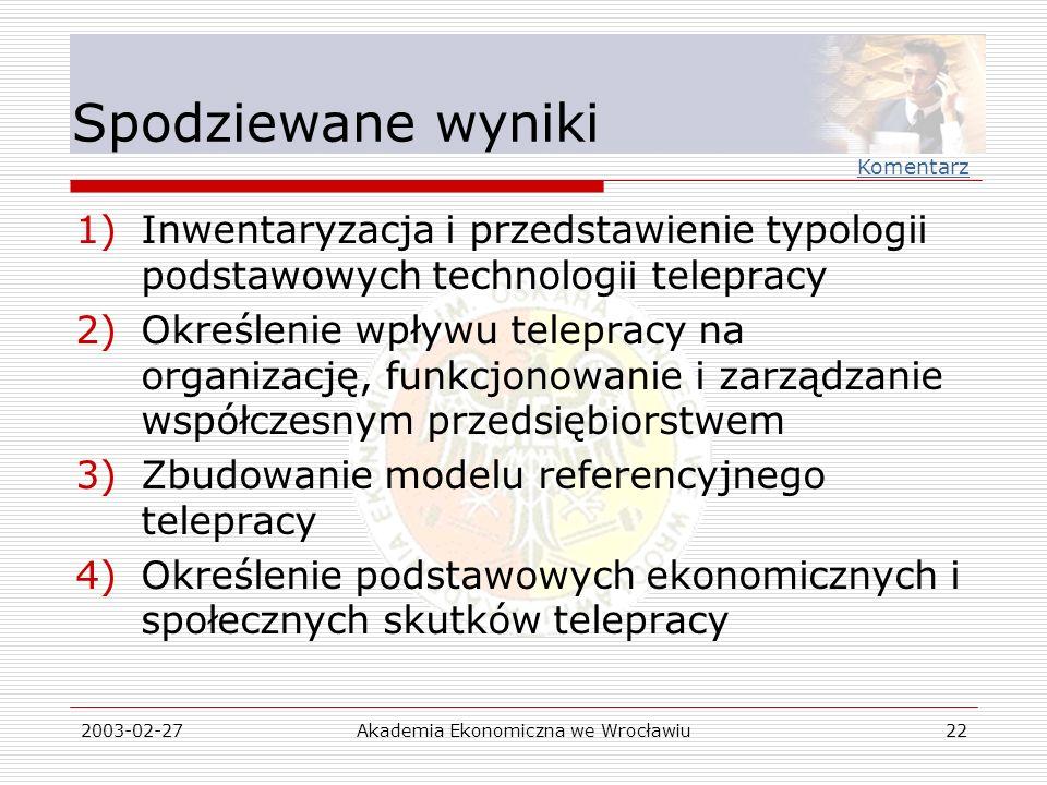 2003-02-27Akademia Ekonomiczna we Wrocławiu22 Spodziewane wyniki 1)Inwentaryzacja i przedstawienie typologii podstawowych technologii telepracy 2)Okre