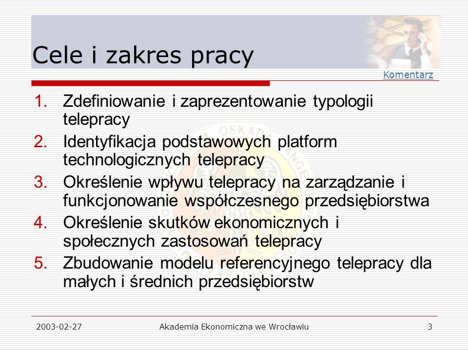 2003-02-27Akademia Ekonomiczna we Wrocławiu4 Tytuły rozdziałów 1.Istota telepracy 2.Podstawowe technologie telepracy 3.Telepraca a zarządzanie przedsiębiorstwem 4.Ekonomiczne i społeczne skutki telepracy 5.Model referencyjny 6.Przykłady telepracy w wybranych typach przedsiębiorstw Komentarz