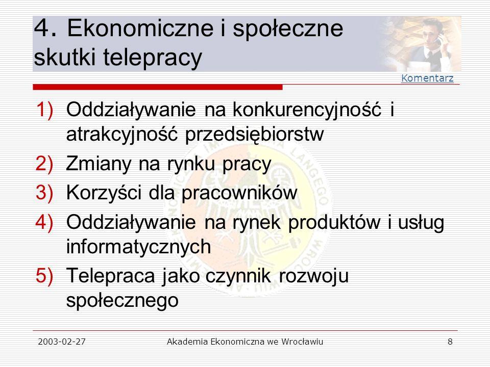 2003-02-27Akademia Ekonomiczna we Wrocławiu8 4. Ekonomiczne i społeczne skutki telepracy 1)Oddziaływanie na konkurencyjność i atrakcyjność przedsiębio