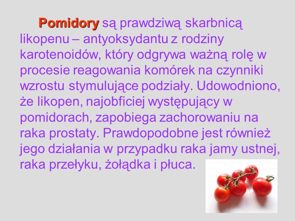 Pomidory Pomidory są prawdziwą skarbnicą likopenu – antyoksydantu z rodziny karotenoidów, który odgrywa ważną rolę w procesie reagowania komórek na cz