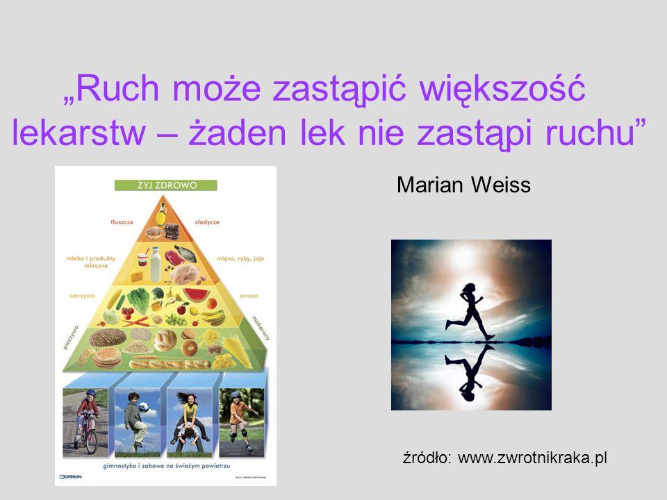źródło: www.zwrotnikraka.pl Ruch może zastąpić większość lekarstw – żaden lek nie zastąpi ruchu Marian Weiss