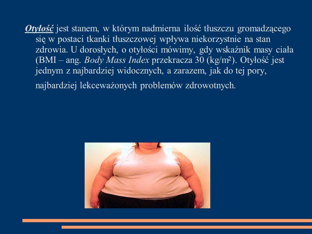 Otyłość jest stanem, w którym nadmierna ilość tłuszczu gromadzącego się w postaci tkanki tłuszczowej wpływa niekorzystnie na stan zdrowia. U dorosłych