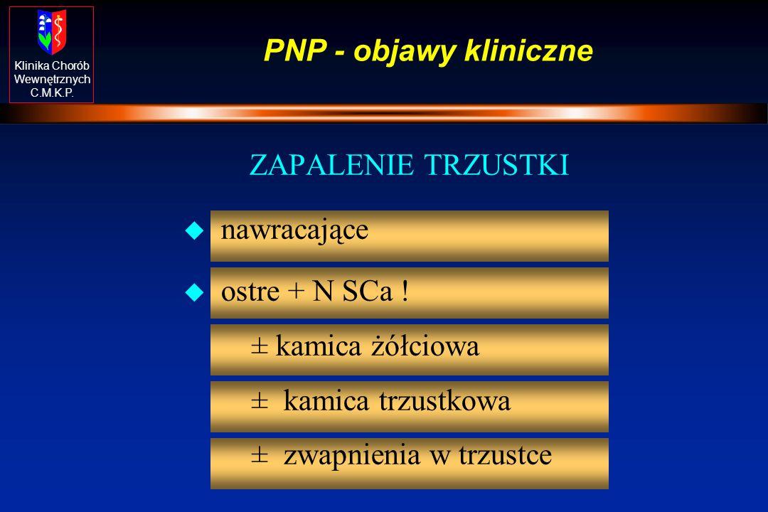 Klinika Chorób Wewnętrznych C.M.K.P. PNP - objawy kliniczne ZAPALENIE TRZUSTKI u nawracające u ostre + N SCa ! ± kamica żółciowa ± kamica trzustkowa ±