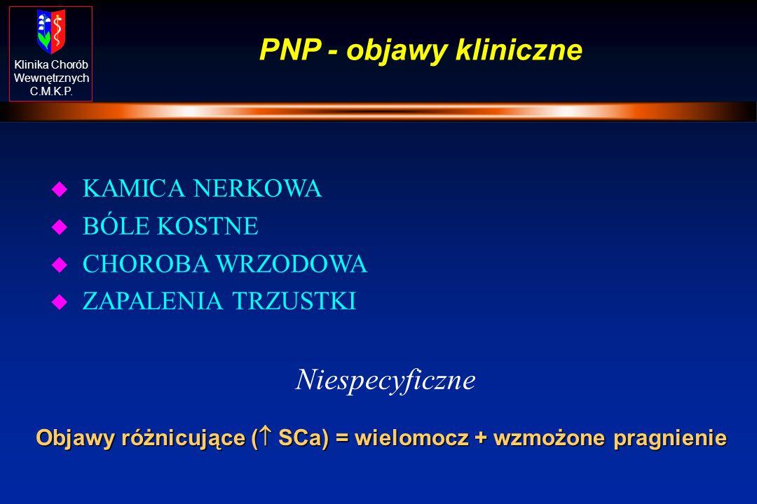 Klinika Chorób Wewnętrznych C.M.K.P. PNP - objawy kliniczne u KAMICA NERKOWA u BÓLE KOSTNE u CHOROBA WRZODOWA u ZAPALENIA TRZUSTKI Niespecyficzne Obja