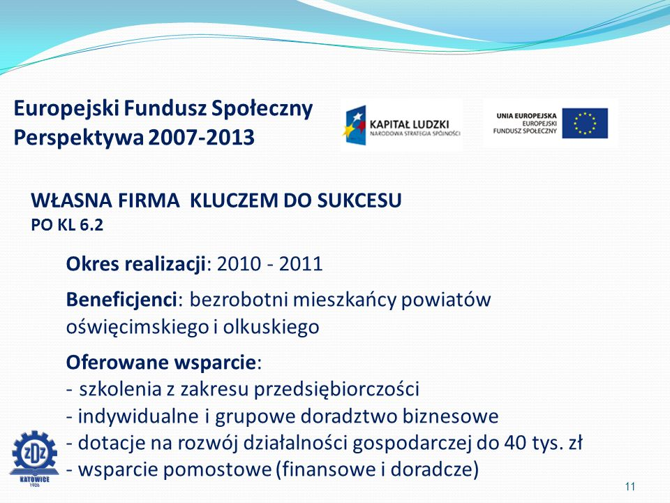 Europejski Fundusz Społeczny Perspektywa 2007-2013 11 WŁASNA FIRMA KLUCZEM DO SUKCESU PO KL 6.2 Okres realizacji: 2010 - 2011 Beneficjenci: bezrobotni mieszkańcy powiatów oświęcimskiego i olkuskiego Oferowane wsparcie: -szkolenia z zakresu przedsiębiorczości - indywidualne i grupowe doradztwo biznesowe - dotacje na rozwój działalności gospodarczej do 40 tys.