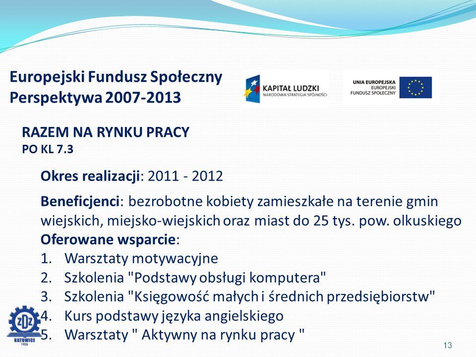 Europejski Fundusz Społeczny Perspektywa 2007-2013 13 RAZEM NA RYNKU PRACY PO KL 7.3 Okres realizacji: 2011 - 2012 Beneficjenci: bezrobotne kobiety zamieszkałe na terenie gmin wiejskich, miejsko-wiejskich oraz miast do 25 tys.