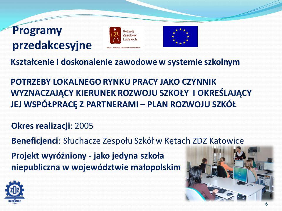 Programy przedakcesyjne 6 Kształcenie i doskonalenie zawodowe w systemie szkolnym POTRZEBY LOKALNEGO RYNKU PRACY JAKO CZYNNIK WYZNACZAJĄCY KIERUNEK ROZWOJU SZKOŁY I OKREŚLAJĄCY JEJ WSPÓŁPRACĘ Z PARTNERAMI – PLAN ROZWOJU SZKÓŁ Okres realizacji: 2005 Beneficjenci: Słuchacze Zespołu Szkół w Kętach ZDZ Katowice Projekt wyróżniony - jako jedyna szkoła niepubliczna w województwie małopolskim