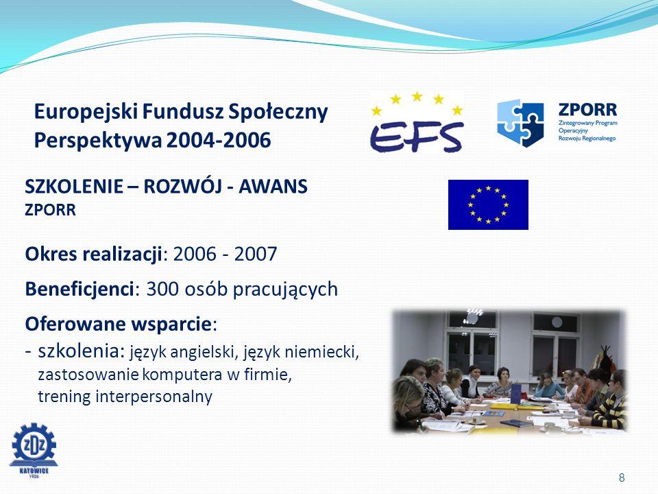 Marcin Jakubowski Kierownik Wydziału Programów Europejskich ZDZ Katowice 19 Konferencja współfinansowana przez Unię Europejską w ramach Europejskiego Funduszu Społecznego