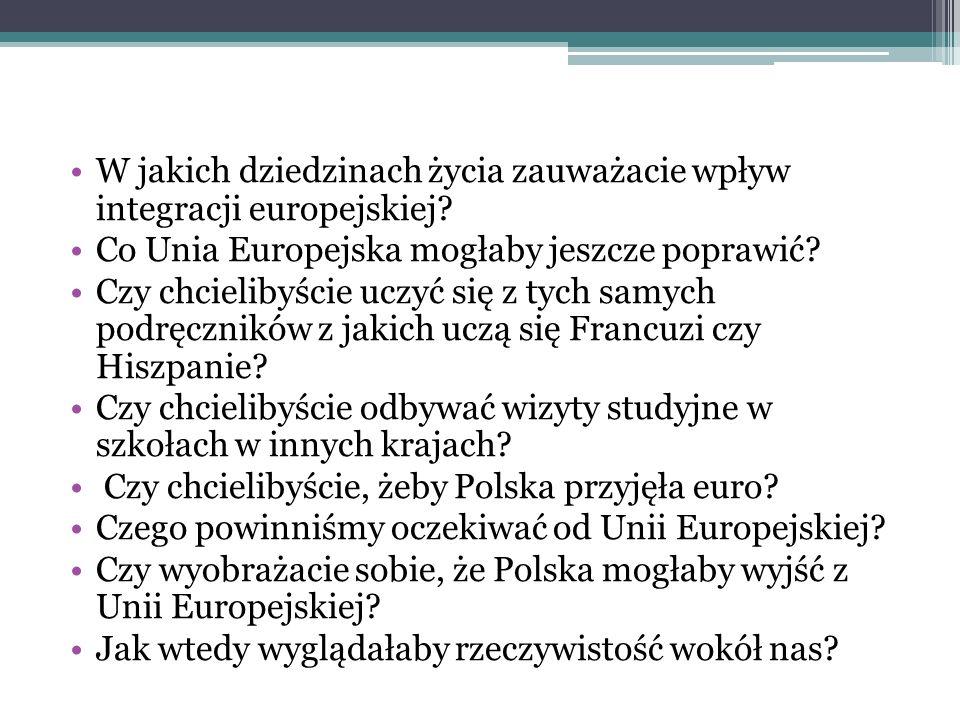 W jakich dziedzinach życia zauważacie wpływ integracji europejskiej.
