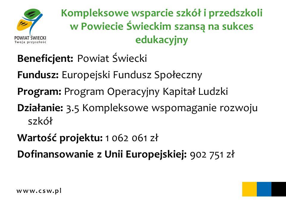 www.csw.pl Kompleksowe wsparcie szkół i przedszkoli w Powiecie Świeckim szansą na sukces edukacyjny Beneficjent: Powiat Świecki Fundusz: Europejski Fu