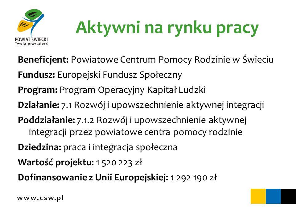 www.csw.pl Aktywni na rynku pracy Beneficjent: Powiatowe Centrum Pomocy Rodzinie w Świeciu Fundusz: Europejski Fundusz Społeczny Program: Program Oper
