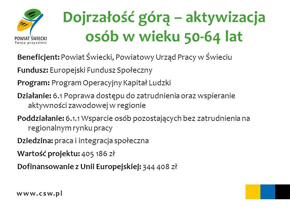 Dojrzałość górą – aktywizacja osób w wieku 50-64 lat Beneficjent: Powiat Świecki, Powiatowy Urząd Pracy w Świeciu Fundusz: Europejski Fundusz Społeczn