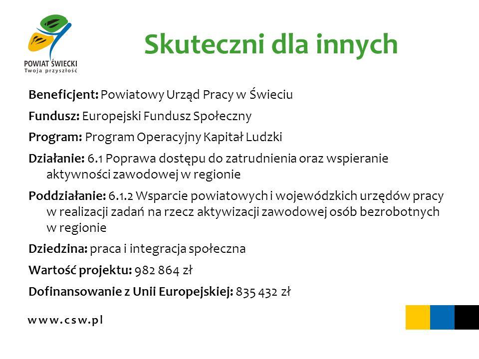 www.csw.pl Skuteczni dla innych Beneficjent: Powiatowy Urząd Pracy w Świeciu Fundusz: Europejski Fundusz Społeczny Program: Program Operacyjny Kapitał