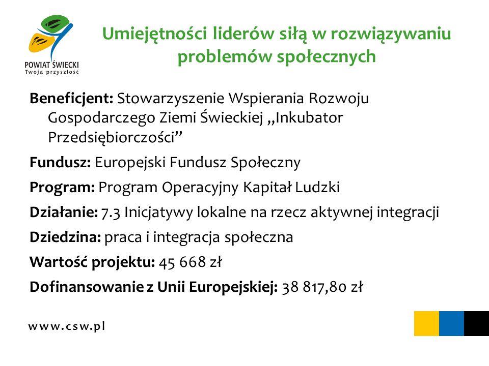www.csw.pl Umiejętności liderów siłą w rozwiązywaniu problemów społecznych Beneficjent: Stowarzyszenie Wspierania Rozwoju Gospodarczego Ziemi Świeckie