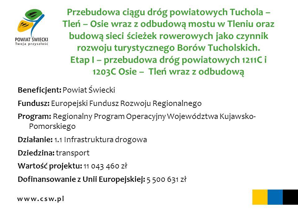 www.csw.pl Przebudowa ciągu dróg powiatowych Tuchola – Tleń – Osie wraz z odbudową mostu w Tleniu oraz budową sieci ścieżek rowerowych jako czynnik ro