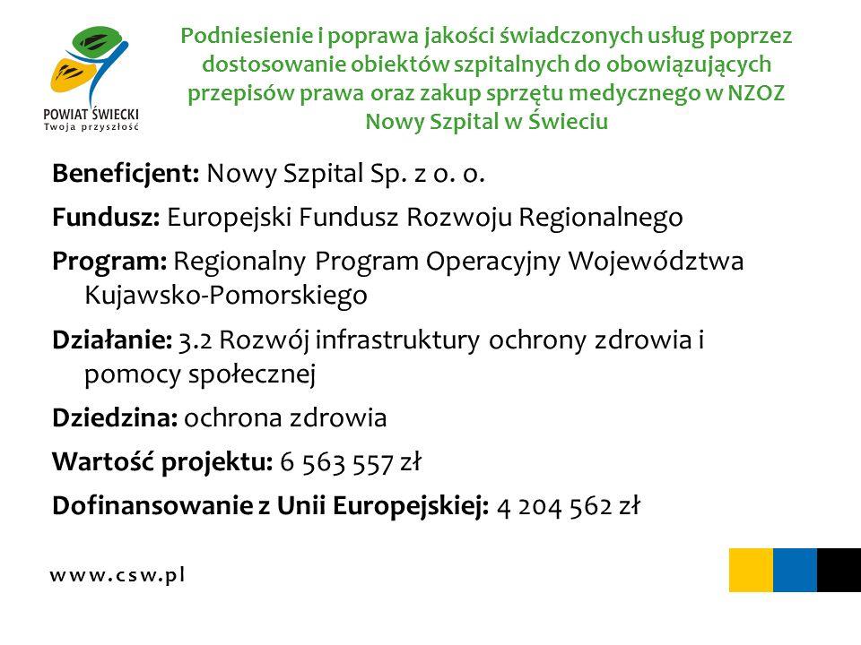 www.csw.pl Podniesienie i poprawa jakości świadczonych usług poprzez dostosowanie obiektów szpitalnych do obowiązujących przepisów prawa oraz zakup sp
