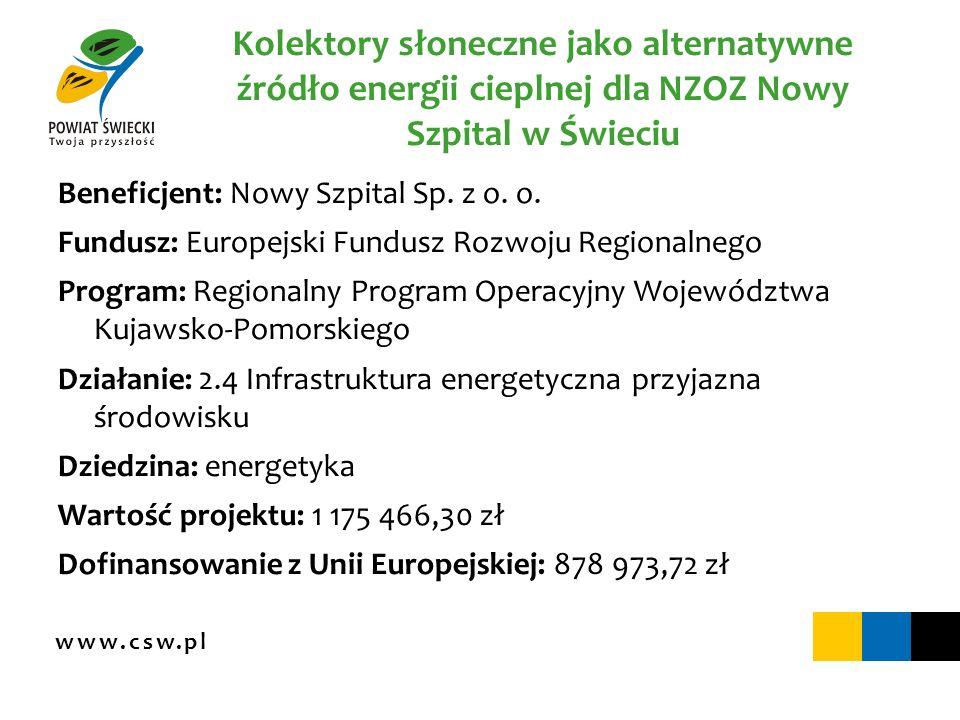 www.csw.pl Kolektory słoneczne jako alternatywne źródło energii cieplnej dla NZOZ Nowy Szpital w Świeciu Beneficjent: Nowy Szpital Sp. z o. o. Fundusz