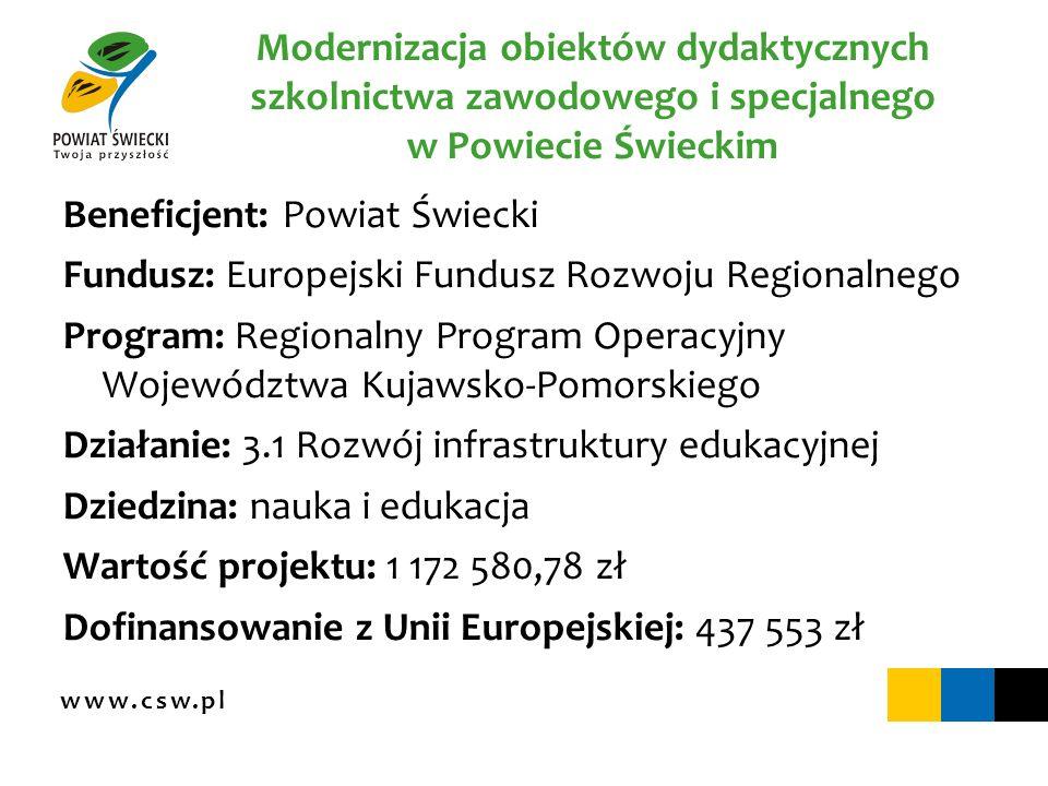www.csw.pl Aktywni na rynku pracy Beneficjent: Powiatowe Centrum Pomocy Rodzinie w Świeciu Fundusz: Europejski Fundusz Społeczny Program: Program Operacyjny Kapitał Ludzki Działanie: 7.1 Rozwój i upowszechnienie aktywnej integracji Poddziałanie: 7.1.2 Rozwój i upowszechnienie aktywnej integracji przez powiatowe centra pomocy rodzinie Dziedzina: praca i integracja społeczna Wartość projektu: 1 520 223 zł Dofinansowanie z Unii Europejskiej: 1 292 190 zł