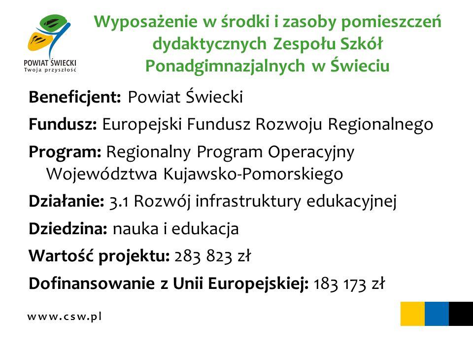 www.csw.pl Wyposażenie w środki i zasoby pomieszczeń dydaktycznych Zespołu Szkół Ponadgimnazjalnych w Świeciu Beneficjent: Powiat Świecki Fundusz: Eur