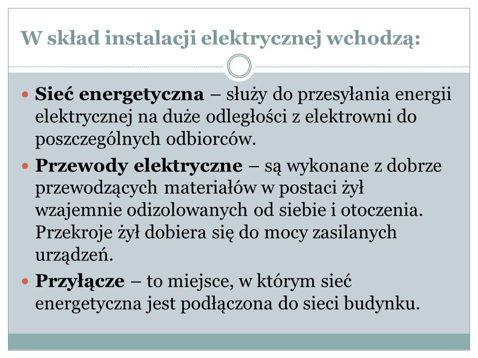 W skład instalacji elektrycznej wchodzą: Sieć energetyczna – służy do przesyłania energii elektrycznej na duże odległości z elektrowni do poszczególny