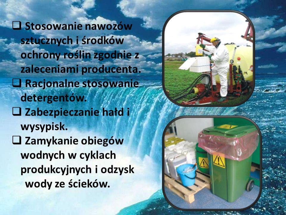 Stosowanie nawozów sztucznych i środków ochrony roślin zgodnie z zaleceniami producenta. Racjonalne stosowanie detergentów. Zabezpieczanie hałd i wysy
